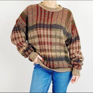 Vintage Plaid Oversized Boxy Grandpa Sweater B17